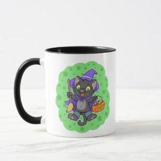 Halloween witch cat mug