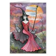 Halloween Witch Tabby Cat Art Card