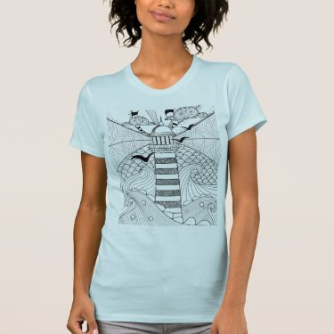 Hand Drawn Lighthouse Doodle T-Shirt