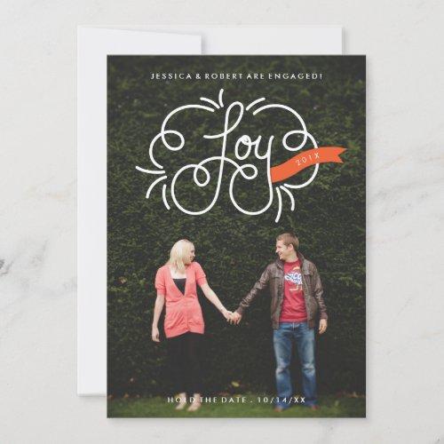 Hand Lettered Joy Holiday Engagement Photo Card