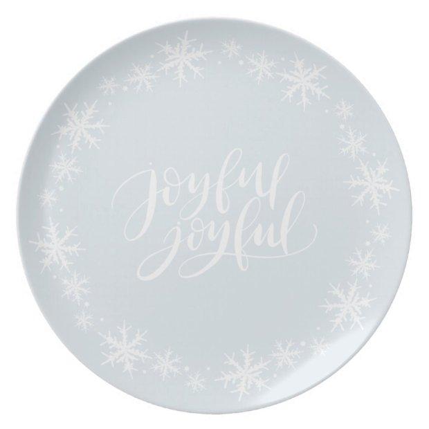 Hand-Lettered Joyful Winter Snowflake Decor Dinner Plate
