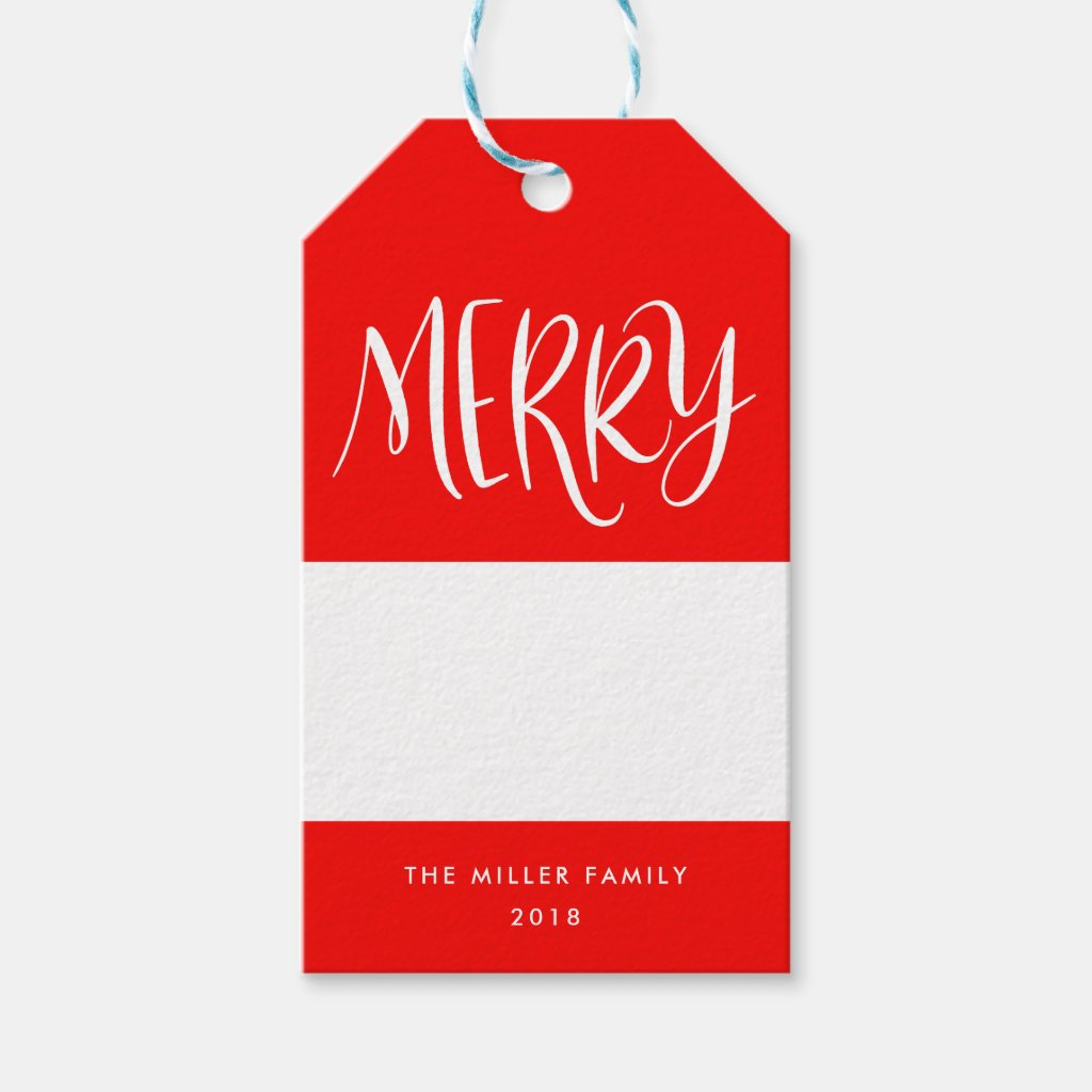 Hand-Lettered Merry Festive Personalized Gift Tag