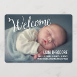 Hand Lettered Welcome Photo Birth Announcement