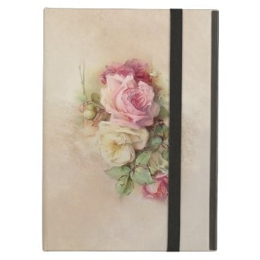 Handpainted Style Vintage Pink and White Roses Case For iPad Air
