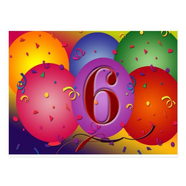 6Th Birthday Balloons Clipart