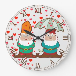 Happy and Grumpy Gnomes Roman Numbers Large Clock