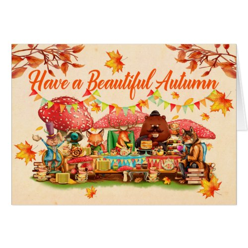 Happy Autumn Illustration Greeting Card
