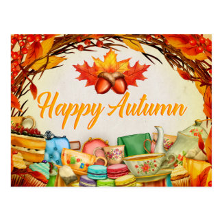 Happy Autumn (Leaves, Cake, Tea) Postcard