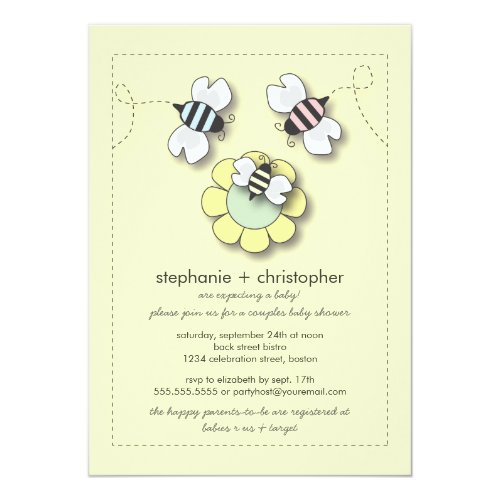 Happy Bee Family Couples Neutral Baby Shower Invitation