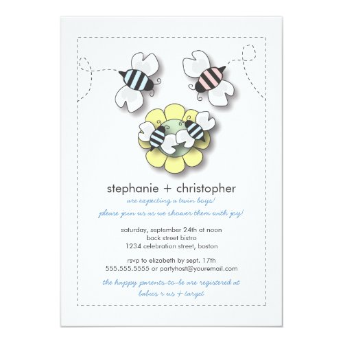 Happy Bee Family Twin Boys Baby Shower Invitation