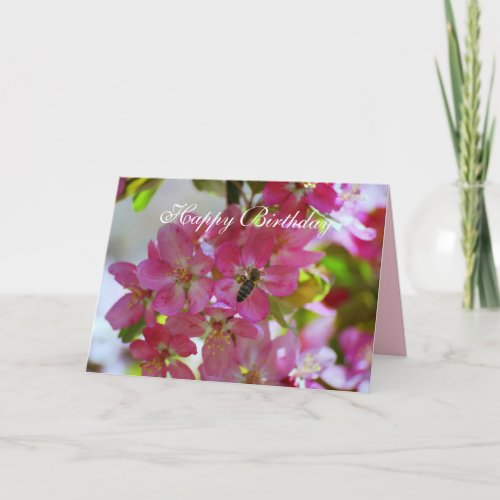 Happy Birthday Apple Blossoms, Honey Bee zazzle_card