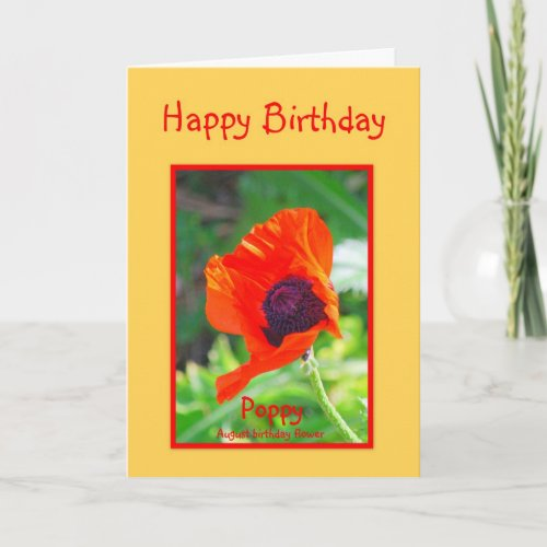 Happy Birthday August Birthday Poppy card