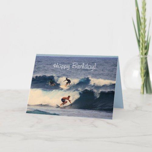 Happy Birthday Big Island Hawaiian Surfers card
