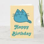 Happy Birthday Blue Smiling Kitty Cat Card