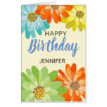 Fun Colorful Spring Flowers Customizable Birthday Card