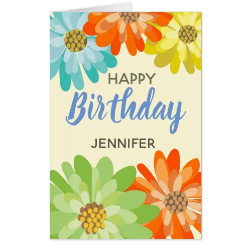 Happy Birthday customize name spring flowers Card