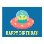 Cute ET Alien In Spacecraft Happy Birthday Postcard