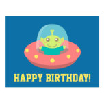 Cute ET Alien In Spacecraft Happy Birthday Postcard
