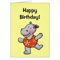 Happy birthday (cute hippo) card