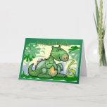 Cute Customizable Green Happy Birthday Dinosaur Birthday Card