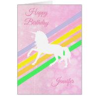 Happy Birthday Girl's Unicorn Personalized Card