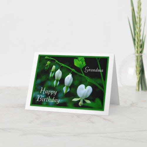 Happy Birthday Grandma White Hearts card