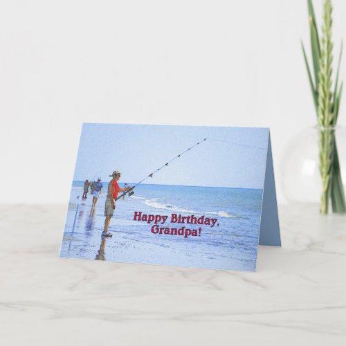 Happy Birthday, Grandpa, Fishing on Beach card