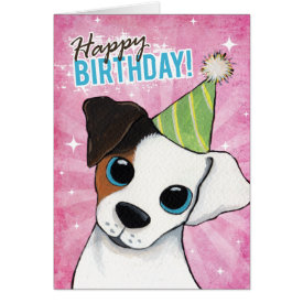 Happy Birthday Jack Russell Party Dog Greeting Card