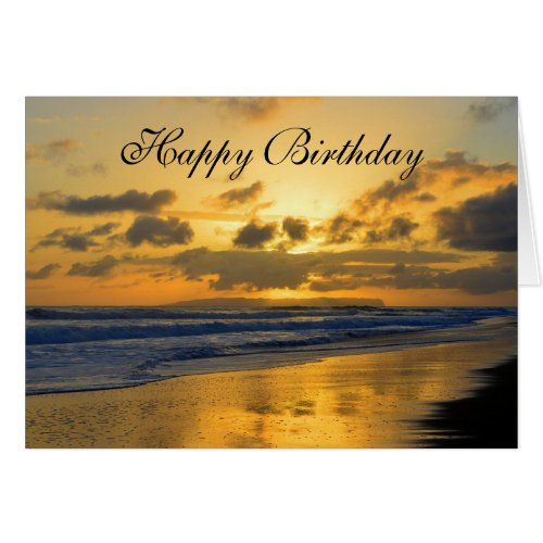 Happy Birthday, Kauai Beach Sunset Greeting Card