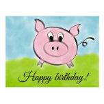❤️ Cute Spring/Summer Themed Pig Happy Birthday Postcard