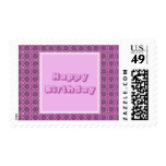 Happy Birthday Pretty Pink Floral Pattern Postage