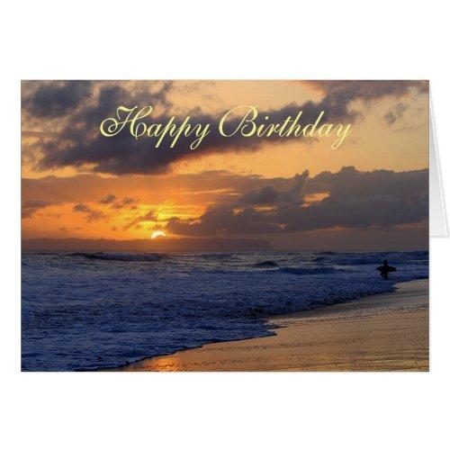 Happy Birthday, Surfer Kauai Beach Sunset Greeting Cards