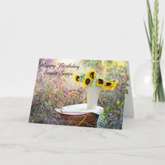 Happy Birthday Sweet Sister Sunflower Card Zazzle Com