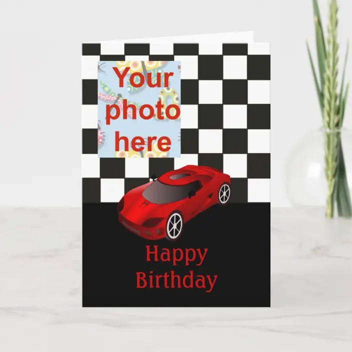 Happy Birthday With Red Racing Car Card Zazzle Com
