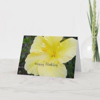 Happy Birthday - Yellow Hibiscus Card