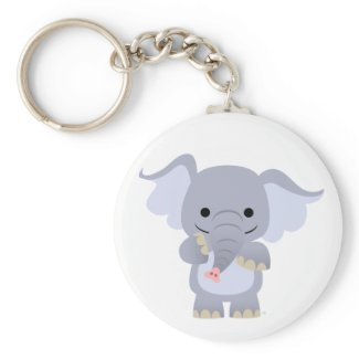 Happy Cartoon Elephant Keychain keychain