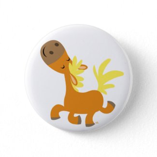 Happy Cartoon Pony button badge button