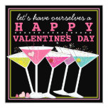 Happy Colorful Cocktails Valentines Day Party Invitation