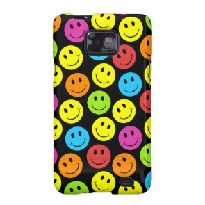 Happy Colorful Smiley Faces Pattern Samsung Galaxy SII Cover