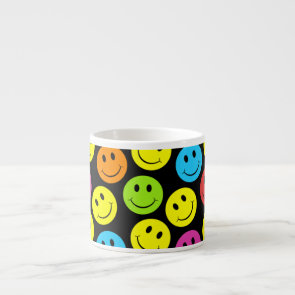 Happy Colorful Smiley Faces Pattern Espresso Cup