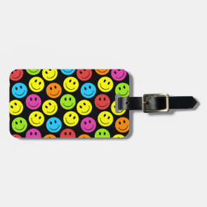 Happy Colorful Smiley Faces Pattern Luggage Tag