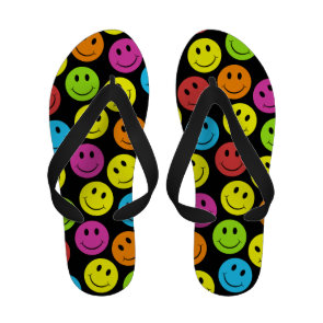 Happy Colorful Smiley Faces Pattern Sandals