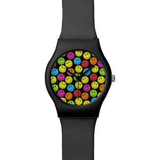 Happy Colorful Smiley Faces Pattern Wrist Watches