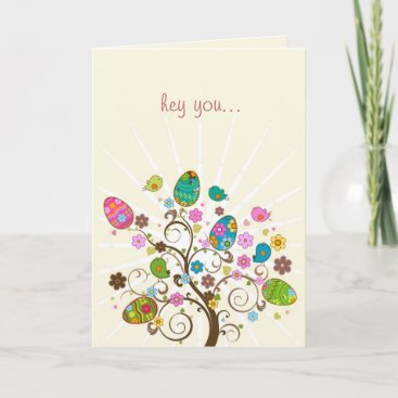 Happy Easter Abstract Easter Tree Holiday Card