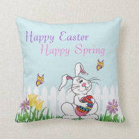 Happy Easter Happy Spring - Funny Bunny Pillow