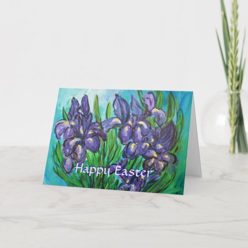 Happy Easter Iris Flowers Custom Greeting Card