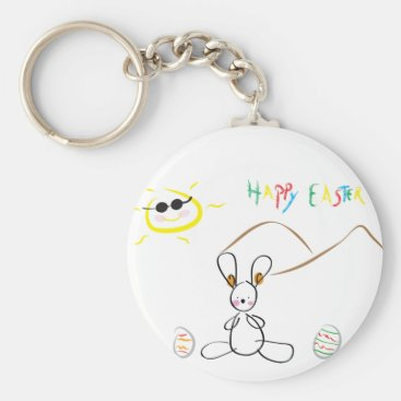 Happy Easter Kids Drawing Keychain