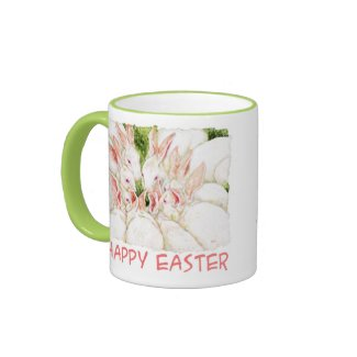 Happy Easter White Rabbit Mug zazzle_mug