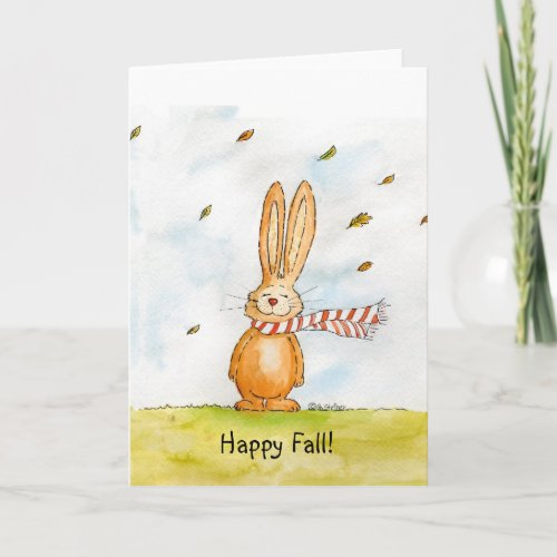 Happy Fall - Cute Autumn Greetings with Bunny in t Card