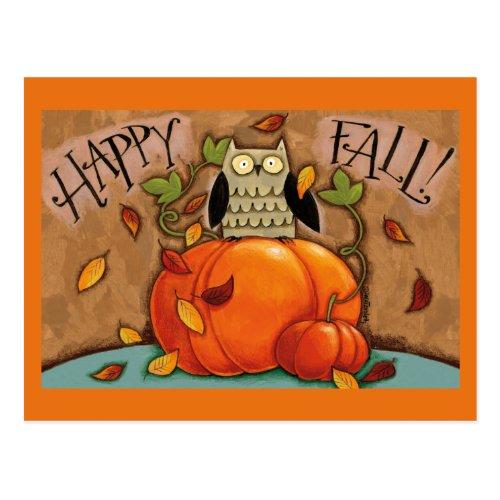 Happy Fall Owl and Pumpkin Postcard